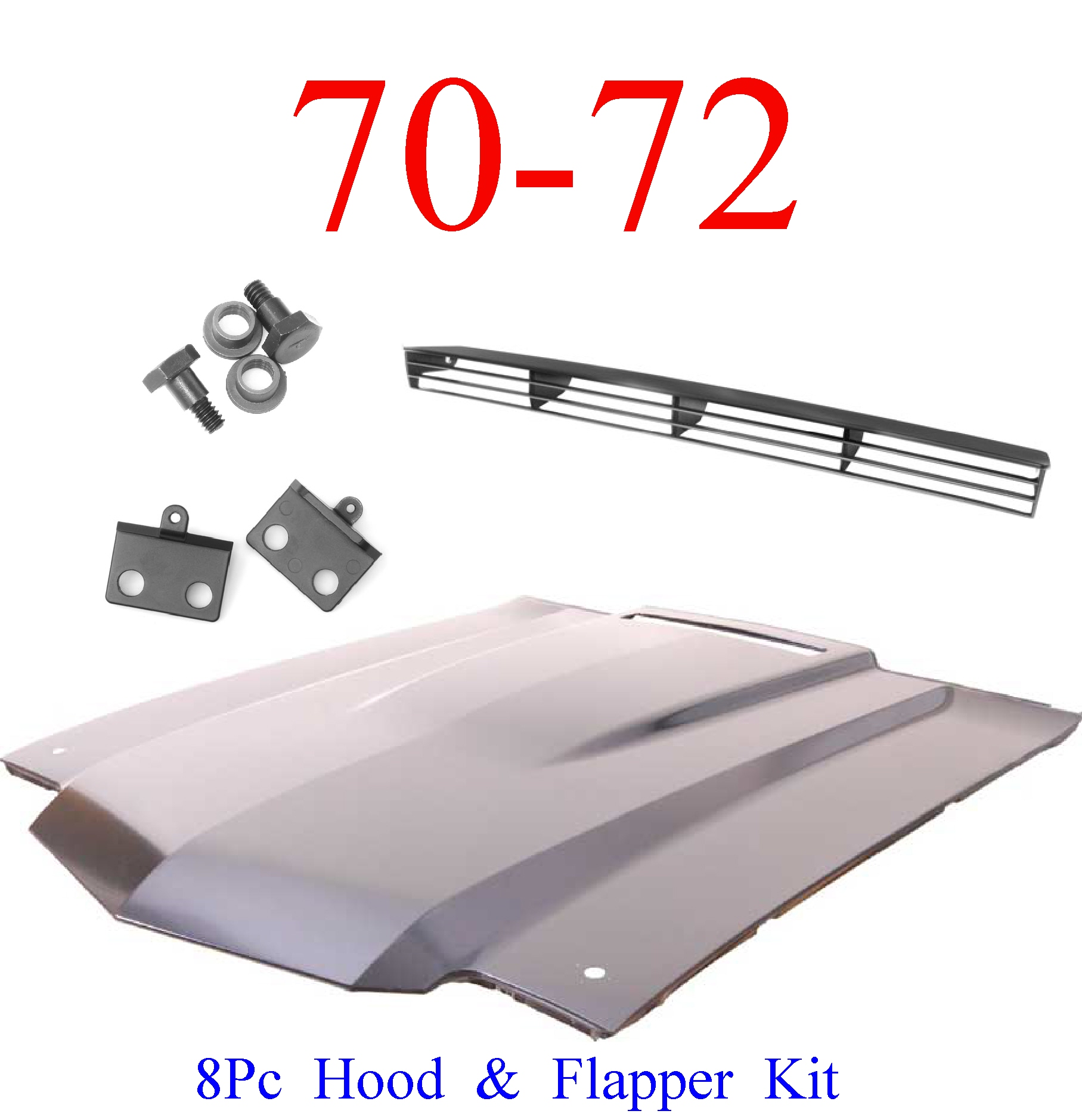 "70-72 Chevy Chevelle SS 2"" 8Pc Cowl Hood & Flapper Kit"